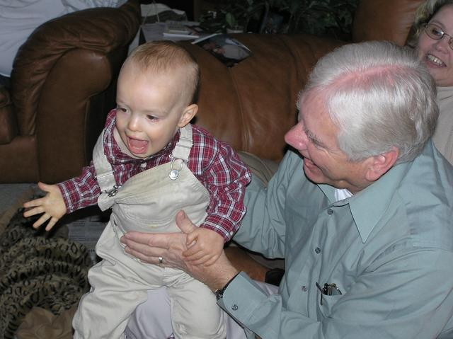 Jacob laughs it up with Grandpa